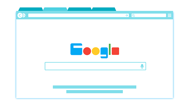 Vector of Google landing page on browser